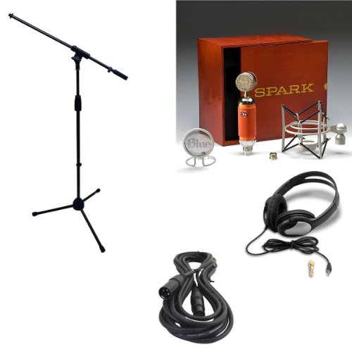 Blue Spark Microphone Bundle With Mic Boom Stand, Xlr Cable And Studio Headphones