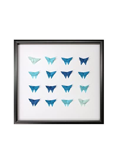 Blue Ombre Hand-Folded Origami Butterflies, 18 x 19