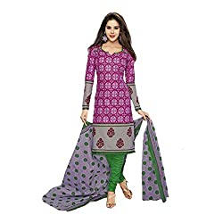 Stylish Girls Women Cotton Printed Unstitched Dress Material (SG231_pink_Free size)