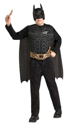 DELUXE Batman Dark Knight Batman Set Child BLACK MASK COSTUME (Standard)