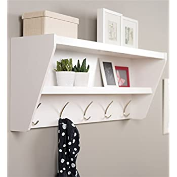 Prepac Floating Entryway Shelf & Coat Rack in Espresso