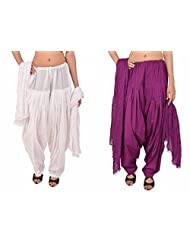 Stylenmart Combo Offers - Pack Of White And Purple Cotton Patiala Salwar Dupatta