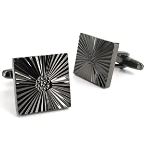 Konov Jewellery 2pcs Quadrate Shirts Men's Cufflinks Wedding, Color Black, 1 Pair (with Gift Bag)