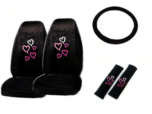 5-Piece Red and Pink Hearts Auto Interior Gift Set- A Set of 2 Universal Fit Seat Covers, 1 Steering Wheel Cover, and 2 Shoulder Pads