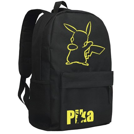 Smiling Face Pikachu Printing Canvas School Backpacks for Teenagers (Black) (22 Liter Backpack Rain Cover compare prices)