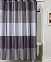 Encore Stripe Shower Curtain Grey