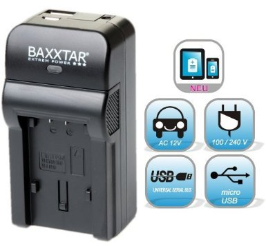 NEU !! Für Akku Canon BP-727 BP-718 BP-709 Bundlestar® Baxxtar RAZER 600 (70% mehr Leistung 100% mehr Flexibilität) Ladegerät -- NEUHEIT mit Micro USB Eingang und USB-Ausgang, zum gleichzeitigen Laden eines Drittgerätes (GoPro Fernbedienung, iPhone, Tablet, Smartphone..)