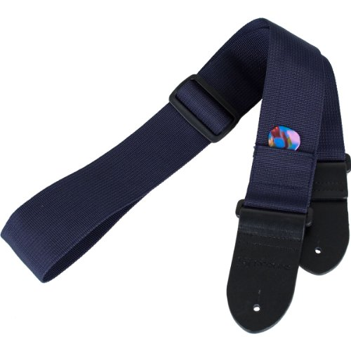Protec Guitar Strap with Leather Ends and Pick Pocket, Blue