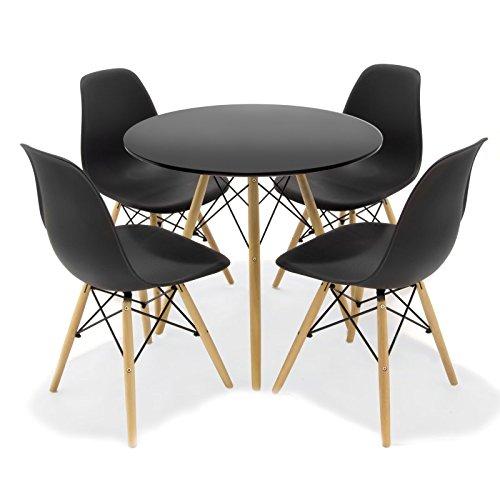 Reihe von Esszimmer/Kuche inspiriert durch das Design Tower Eames–Rund Schwarz