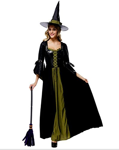 【四葉堂オリジナル】高品質 魔女の衣装 ロングドレス 魔女ハット付き / ハロウィン コスプレ 婦人