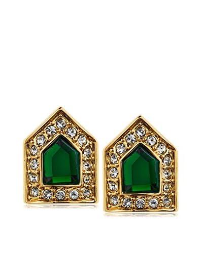 Rachel Zoe Deco Faux Emerald Stud Earrings