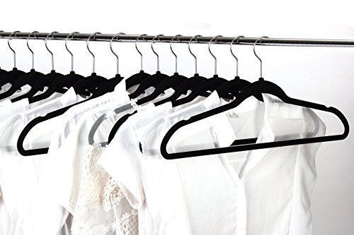 Jeronic 50 Pack Black Velvet Hangers Clothes Hangers Velvet Hanger Clothing Hangers Clothes Hanger Suit Hanger Ultra Thin No Slip for Shirts, Suit and Dresses