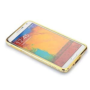Luxury Diamond Bling-Bling Crystal Metal Bumper Case Cover For Samsung GALAXY Note III 3 N9000 (Gold)