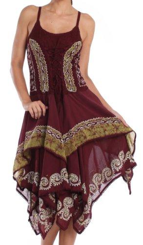 Sakkas B66 Nakoma Batik Handkerchief Hem Dress - Chocolate / Green - One Size