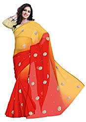 GiftPiper Pure Chiffon Double Shaded Gota Patti Saree- Red&Orange