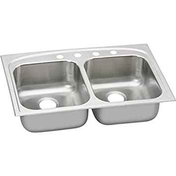 Elkay DPA23322MR2 Dayton 20 Gauge Stainless Steel Double Bowl Top Mount Kitchen Sink, 27 x 22 x 8.0625""