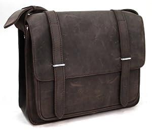 "Vagabond Traveler 14"" Full Leather Stylish Laptop Bag LM02.DK BRN"