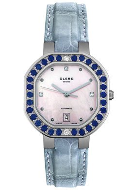 Clerc Women's Stainless Steel Diamond Sapphire Automatic Watch