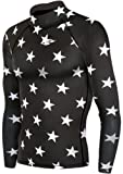 JustOneStyle Take Five Men's 069 Skin Tight Compression Base Layer Black Star Running Shirt