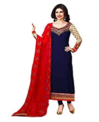 Lakshmi Fashion Creation Women's Georgette Dress Material ( Blue )