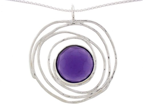 Silver Jewelry, Necklace with One 14mm Round Faceted Synthetic Purple Amethyst Pendant on a 16