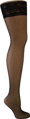 1 Paar Halterlose Netzstrümpfe Overknees in Schwarz mit breitem Komfort Beinabschluss und Spitze