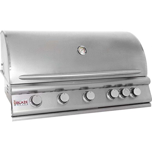 "Blaze BLZ-5NG 40"" Natural Gas Grill with 5 Commercial Quality 304 Cast Stainless Steel Burners Infrared Rear Rotisserie Burner 80 000 Total BTUs and Removable Warming Rack in Stainless"