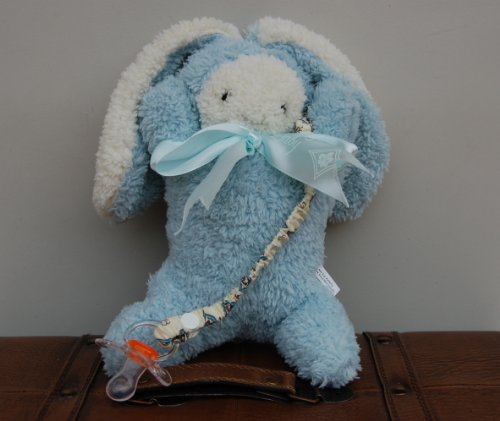 Plush Baby Bunny Stuffed Animal With Attched Pacifier Holder - Baby Gift Set - Unique Baby Boy Gift