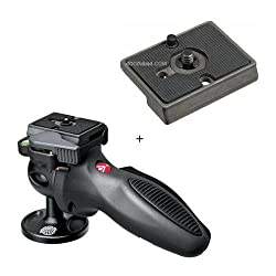 Manfrotto 324RC2 Lightweight Adapto Technopolymer Body Joystick Head with Quick Release Dark Gray with FREE Additional Mounting Plate
