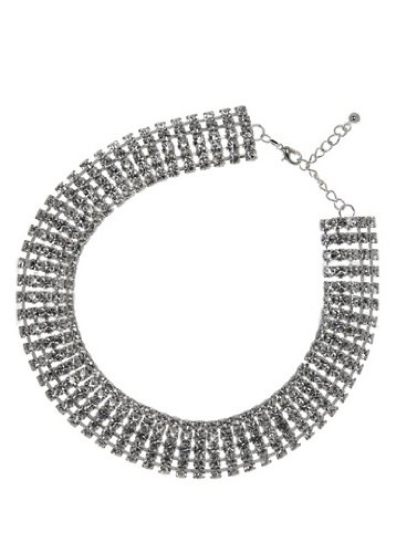 Stylish Jewellery 5-Row Swarovski Crystal Choker / Collar Necklace (Silver Plated) - Bridal Prom