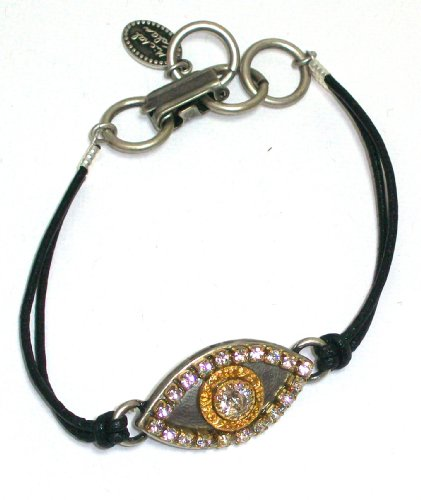 Michal Golan Sterling Silver and 24k Gold Plated Evil Eye Bracelet with Clear Swarovski Crystals on Black Leather Cord