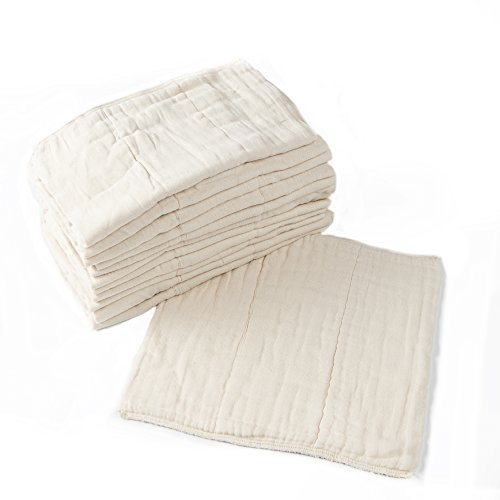 Prefold Cloth Diapers - 12 Pack - Unbleached Premium Cotton, Pre-Washed, Fits Newborn Babies to Toddlers (10-30 lbs), Multi-Use