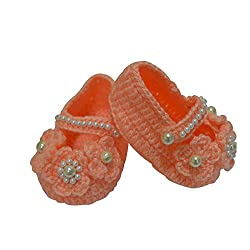 Baby wool shoes / Knitted wool shoes / Baby booties / Peach Color / Pre walker