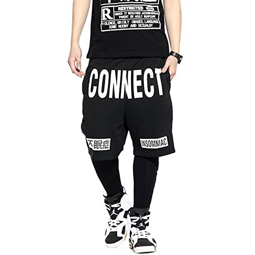 Zokey Men Basketball Hip Hop Dance Cotton Black Shorts Dk05Xl