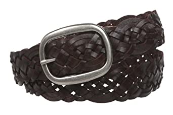 """1 1/2"""" (37 mm) Womens Oval Braided Woven Leather Belt Size: L/XL - 40"""" Color: Brown"""