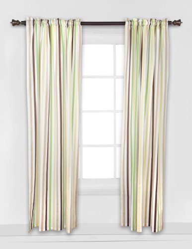 Mod Dots/Stripes Green/yellow/choco Stripes Curtain panel