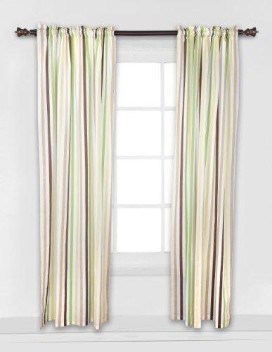 Mod Dots/Stripes Green/yellow/choco Stripes Curtain panel - 1