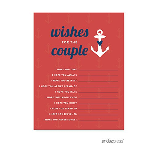 Andaz Press Nautical Ocean Adventure Wedding Collection, Wishes for the Newlyweds Advice Cards, 20-Pack