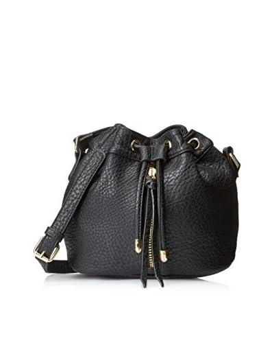 POVERTY FLATS by rian Women's Vintage Mini Bucket Bucket Bag, Black