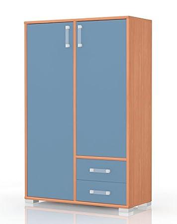Kinderzimmer - Kommode Benjamin 27, Farbe: Buche / Blau - Abmessungen: 134 x 86 x 37 cm (H x B x T)