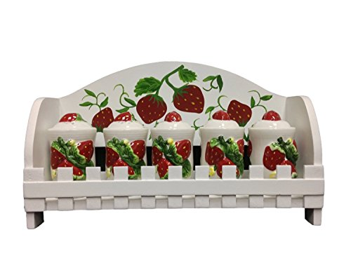 3D Strawberry 5 Piece Spice Jar with Rack (Strawberry Kitchen compare prices)