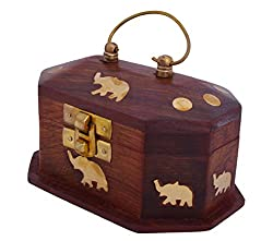 Onlineshoppe Wooden Mini Jewellery Box with Embossed Elephant with Golden Touch