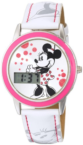 Disney Kids' MN1022 Minnie Mouse Digital Silver Sunray Dial White Strap Watch