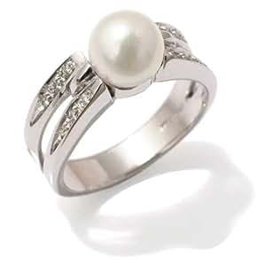 Perles Bague Femme en Or 18 carats Blanc avec Perle de Culture et Diamant H/SI (total diamants 0.05 ct), Taille 50, 5.9 Grammes
