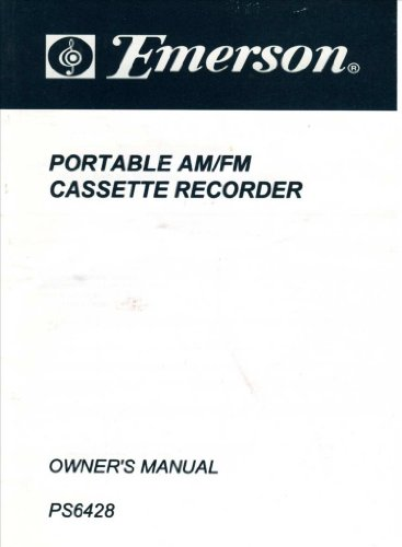 Emerson Portable AM/FM Cassette Recorder Owners Manual PS6428 - Part No. 16-2733