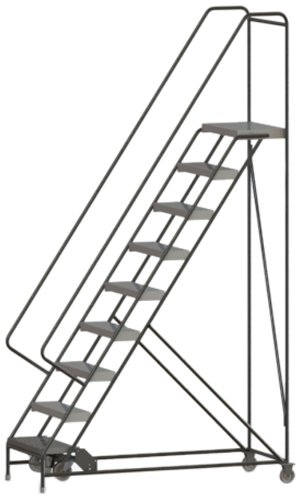 Tri-Arc WLAR109244 9-Step All-Welded Aluminum Rolling Industrial & Warehouse Ladder with Handrail, Ribbed Tread