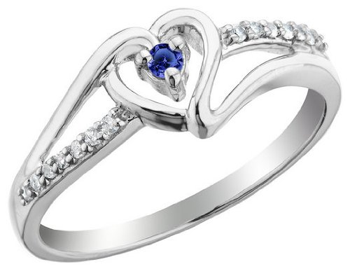 Blue Sapphire Heart Promise Ring with Diamonds 1/10 Carat (ctw) in Sterling Silver, Size 6