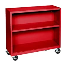 "Sandusky Lee BM10361830-01 Red Steel Mobile Book Case, 36"" Height x 36"" Width x 18"" Depth, 2 Shelves"