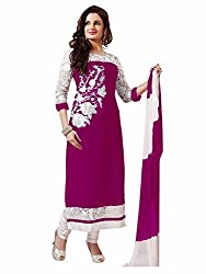 Zbuy Pink Cotton Embroidered Unstitched Salwar Suit Dress Material