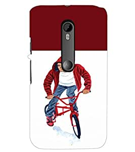 PrintDhaba Bicycle Boy D-2652 Back Case Cover for MOTOROLA MOTO G3 (Multi-Coloured)
